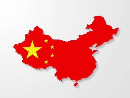 china flag: China map with shadow effect presentation  Illustration
