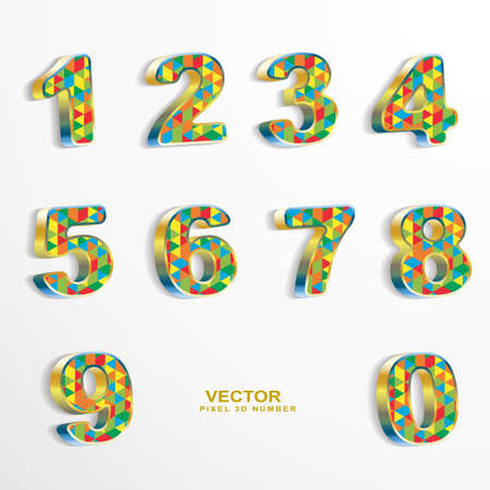 Colored pixel 3D numbers  Vector