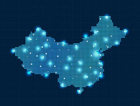Pixel China kaart met verlichting effect presentatie Stock Illustratie