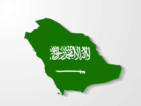 Saudi Arabia map with shadow effect  Illustration