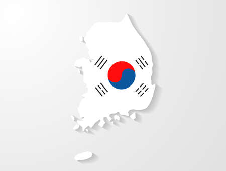 South Korea map with shadow effect  向量圖像