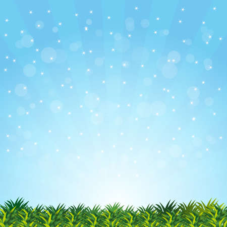 blurry summer with grass presentation  Vector