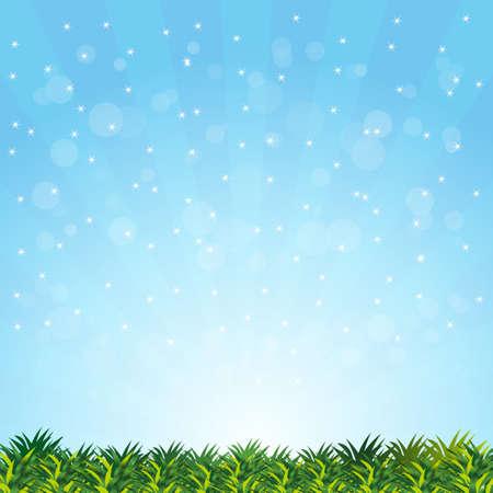 summer sky: blurry summer with grass presentation