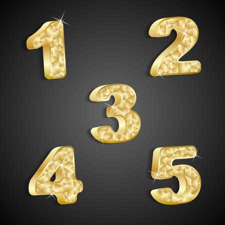 set of golden numbers 1 to 5 Stock Vector - 20381593