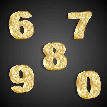 set of golden numbers 6 to 0 Stock Vector - 20378269