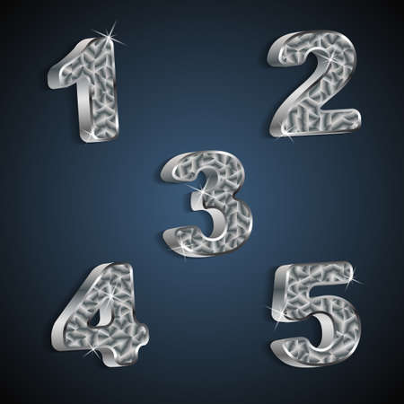 set of metallic numbers 1 to 5  Vector