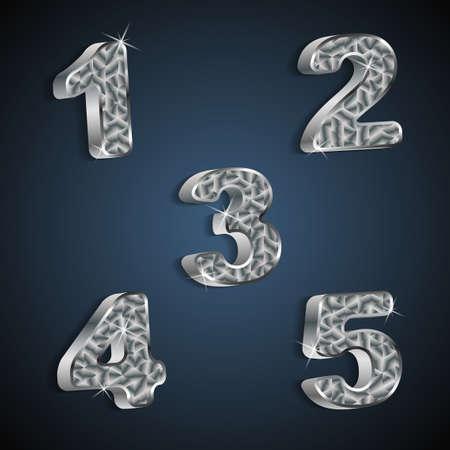 set of metallic numbers 1 to 5 Stock Vector - 20381398