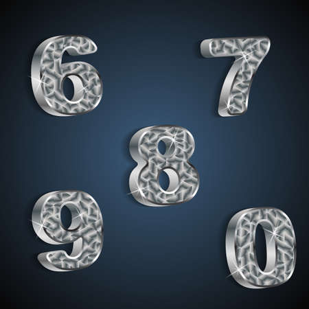 set of metallic numbers 6 to 0  Stock Vector - 20381395