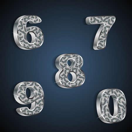 set of metallic numbers 6 to 0 Stock Vector - 20381395