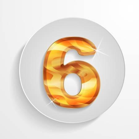 numeric: light circle icon wood number 6