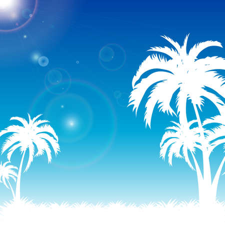 blue palm beach summer presentation  Vector