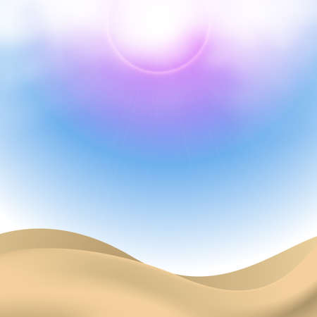 golden sands with cute sky background  Vector