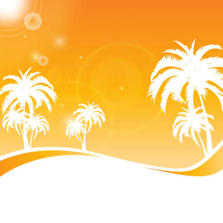 palm beach summer background  Vector