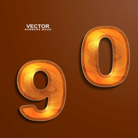 wood texture numbers 9 0  Vector