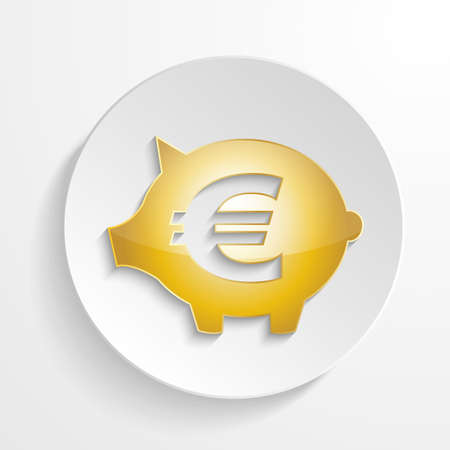 vector euro piggy bank with shadow effect
