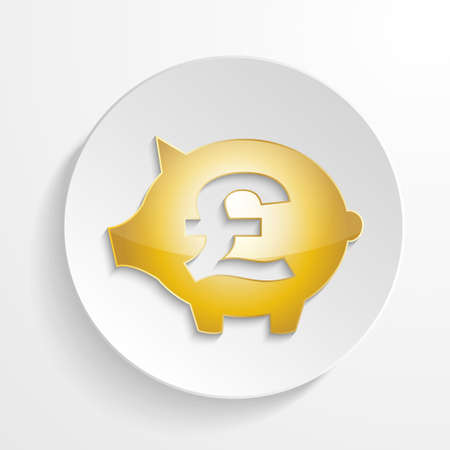 pound: vector pound piggy bank with shadow effect