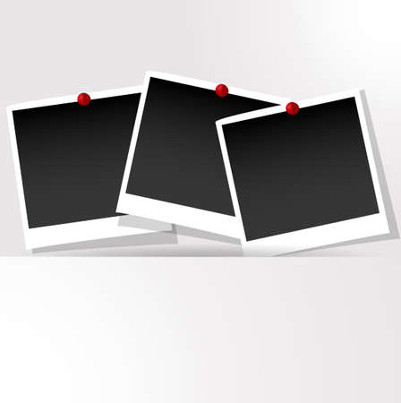 Photo frames with push pins presentation Vector