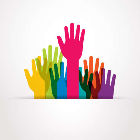 participation: vector colored raised hands presentation