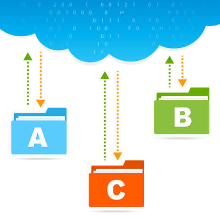 transfer files cloud presentation Vector