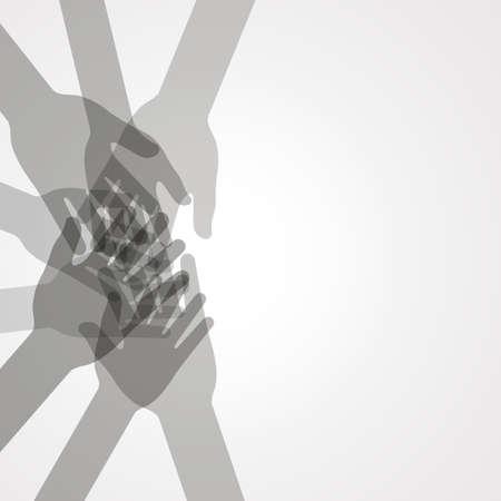 juntos: unidad manos vector Vectores