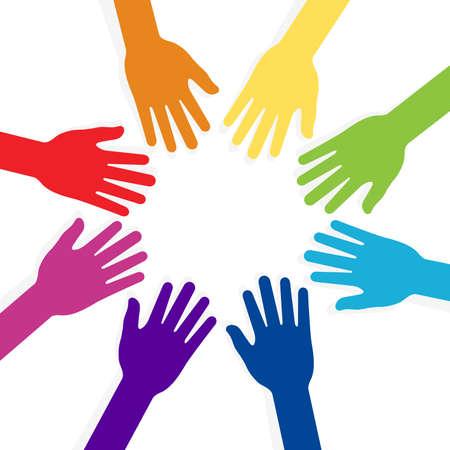 snatch: colorful hands forming shape teamwork Illustration