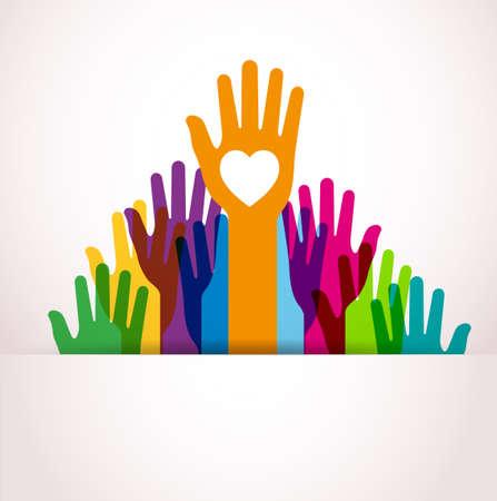 solidaridad: Colores Hands Up Vectores