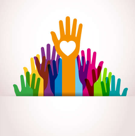 charity collection: Colors hands up