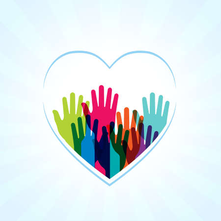 Colors hands up in hearts shape Vector