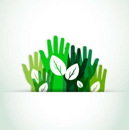 green economy: ecological hands up Illustration
