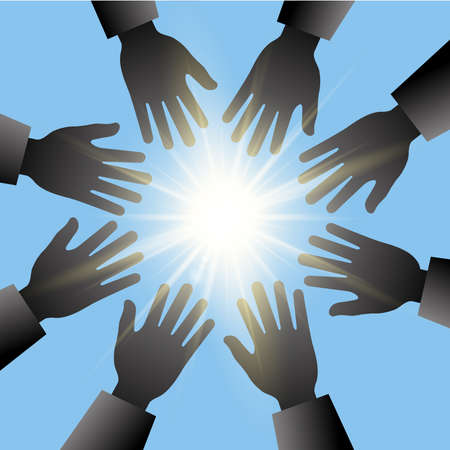 hands in the air: hands reaching for the sun with blue sky and light rays Illustration