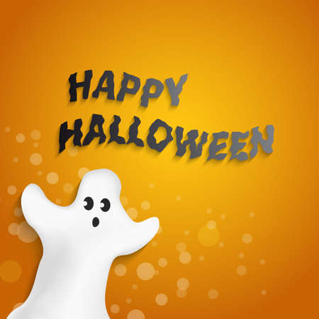funny ghost shape with Happy Halloween message Vector