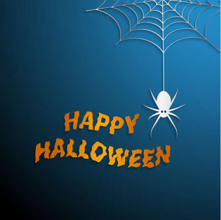 Halloween spider web with blue background Vector