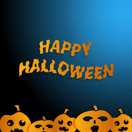 happy halloween: Happy Halloween  blue background