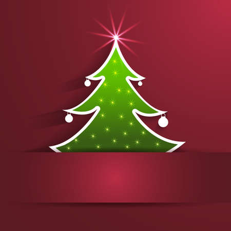fir tree red: Christmas Tree background Illustration