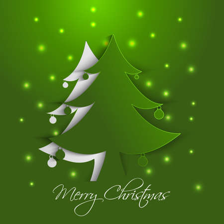 Christmas tree paper card Vector