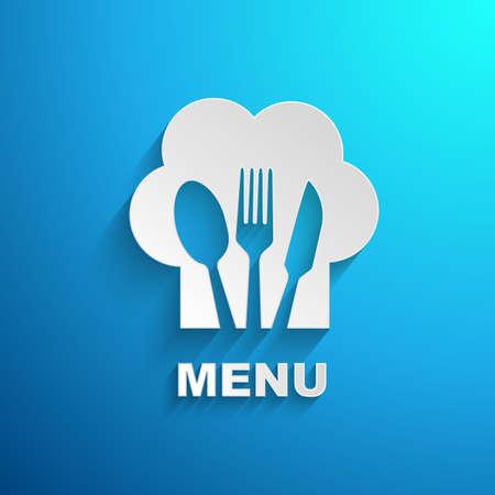 restaurante: menu de efeito de papel chefe