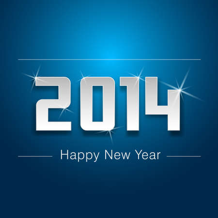 cute paper 2014 year presentation in blue background