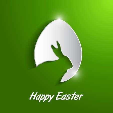 huevo de papel con la sombra de tarjeta de Pascua