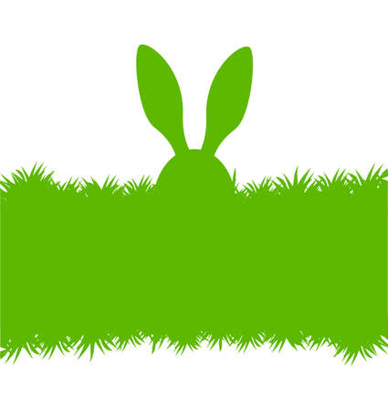 Easter bunny green greeting card Illustration