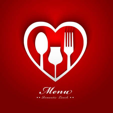 romantic dinner: conception romantique de menu de déjeuner Illustration