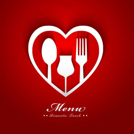 valentine: romantic lunch menu design