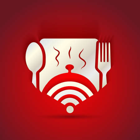 icon concept for restaurant menu and free WiFi zone Çizim