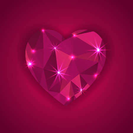 red diamond heart shape with star lights effect  greeting card Vector