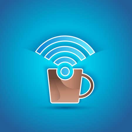 cafe internet: Papel 3d icono Internet Cafe con efecto de sombra sobre fondo azul
