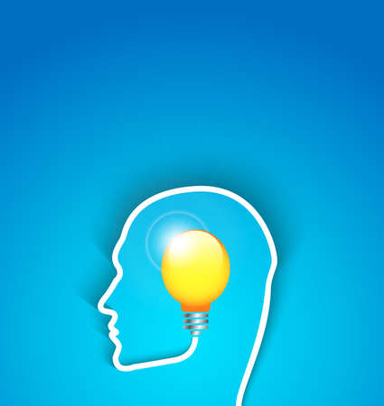 idea concept human face profile with bulb Vector