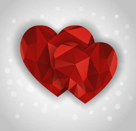 two abstract diamond hearts shape greeting card Stock Vector - 24665781
