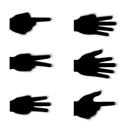 three pointer: Hand gesture silhouettes with shadow effect isolated on white Illustration
