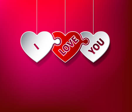 I Love You puzzle hearts Vector