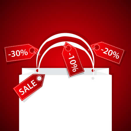 paper shopping bag with discount labels background