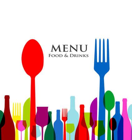 Ristorante copertina retro disegni del menu su sfondo bianco Archivio Fotografico - 25041547